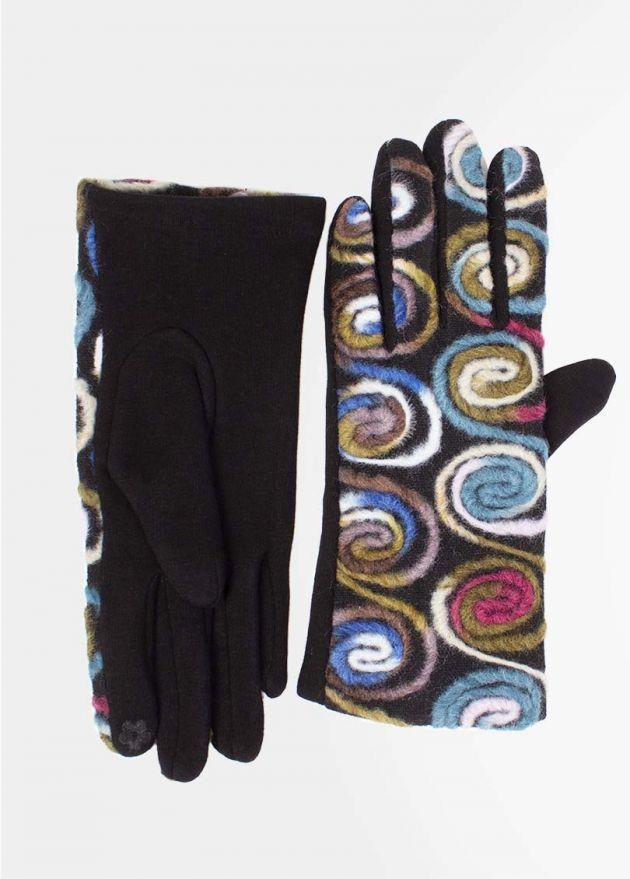 gants ethniques tactiles bleus face