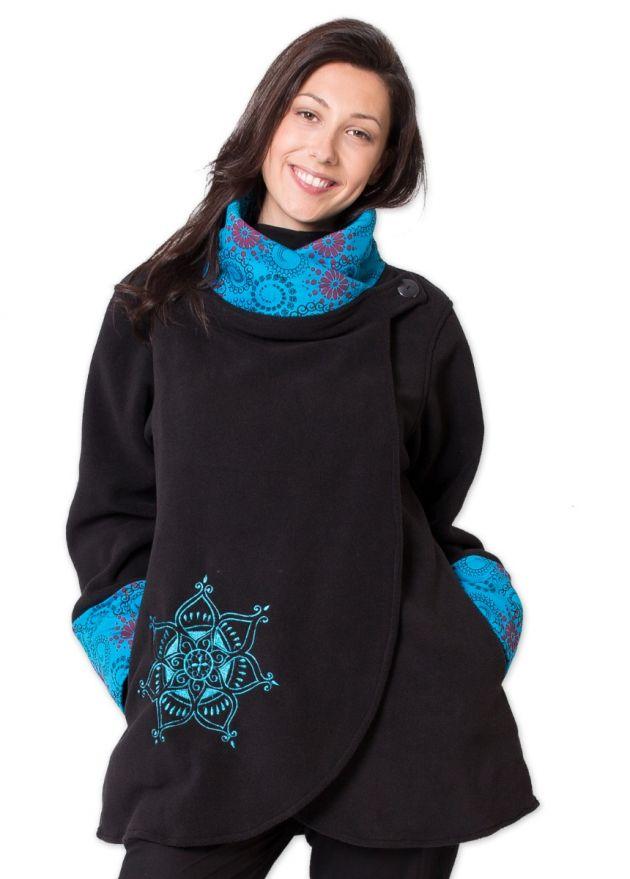 veste polaire femme imprime mandala noir turquoise