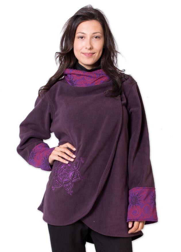 veste polaire femme col montant violet