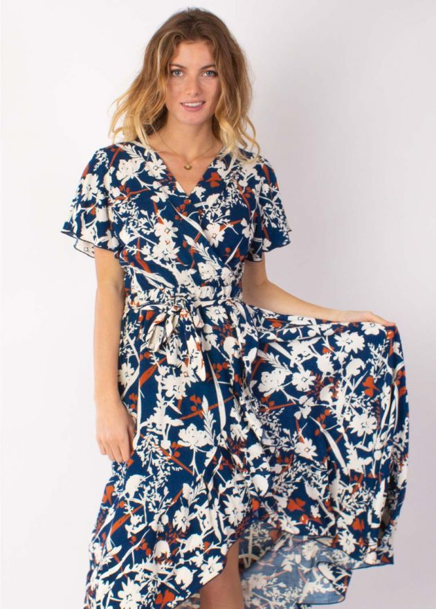 robe longue jessica imprimé 27 marine