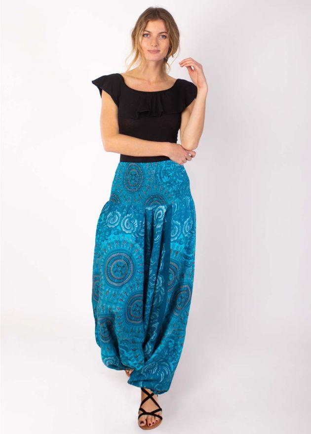 sarouel ethnique motif mandala turquoise face
