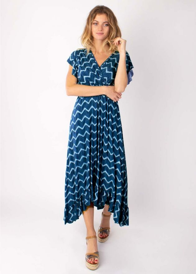robe longue motif tie & dye marine viscose face