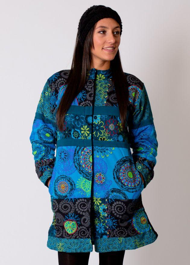 manteau hiver femme bleu motif ethnique