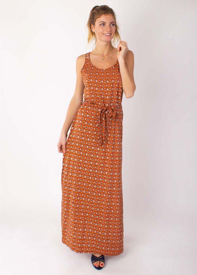 robe longue motif imprimé camel face