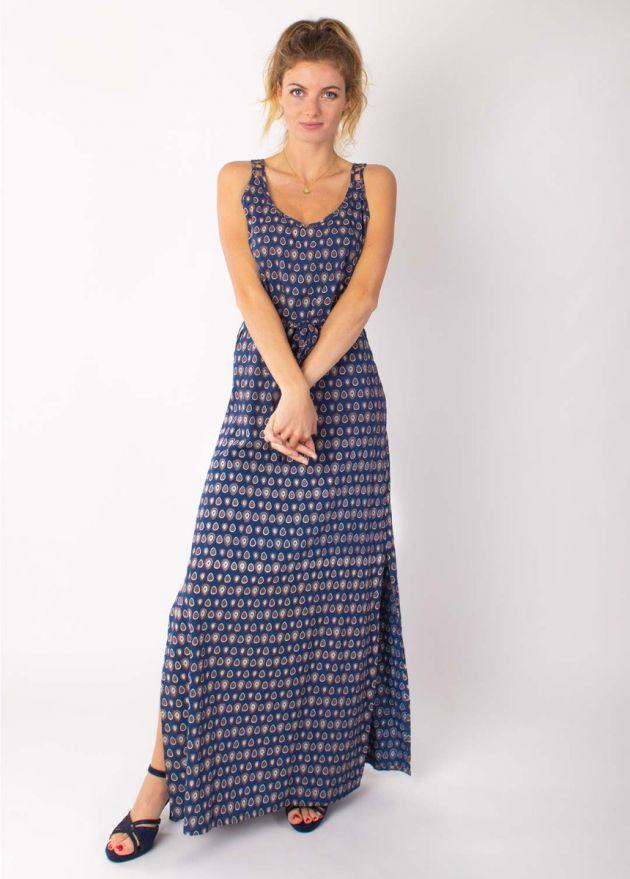 robe longue viscose- marine face