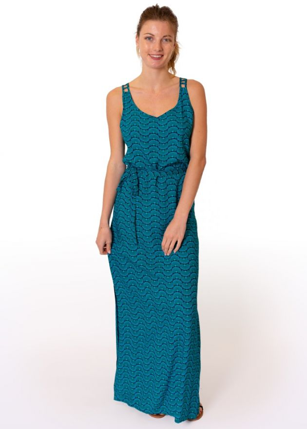 robe-longue-viscose-bleue