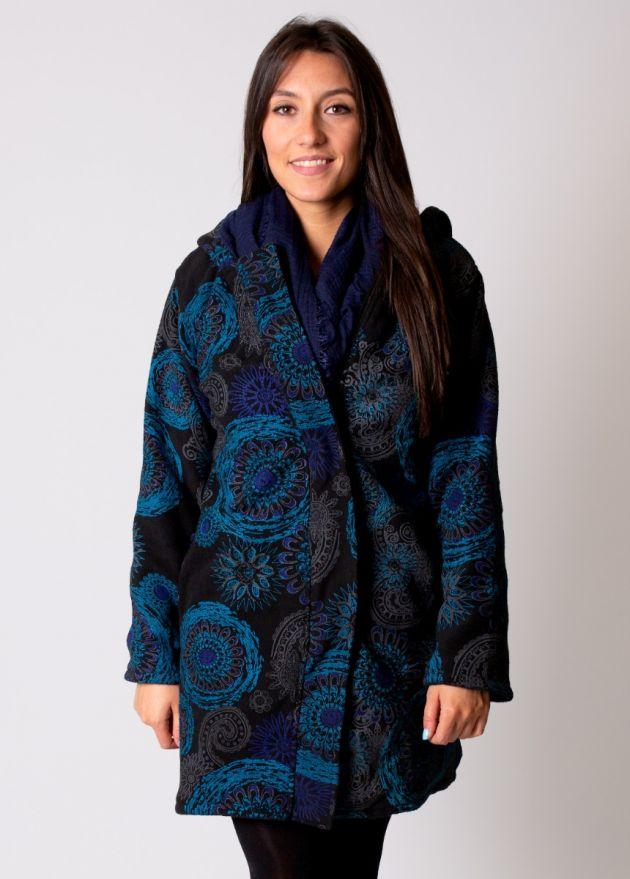 manteau femme motif ethnique à capuche