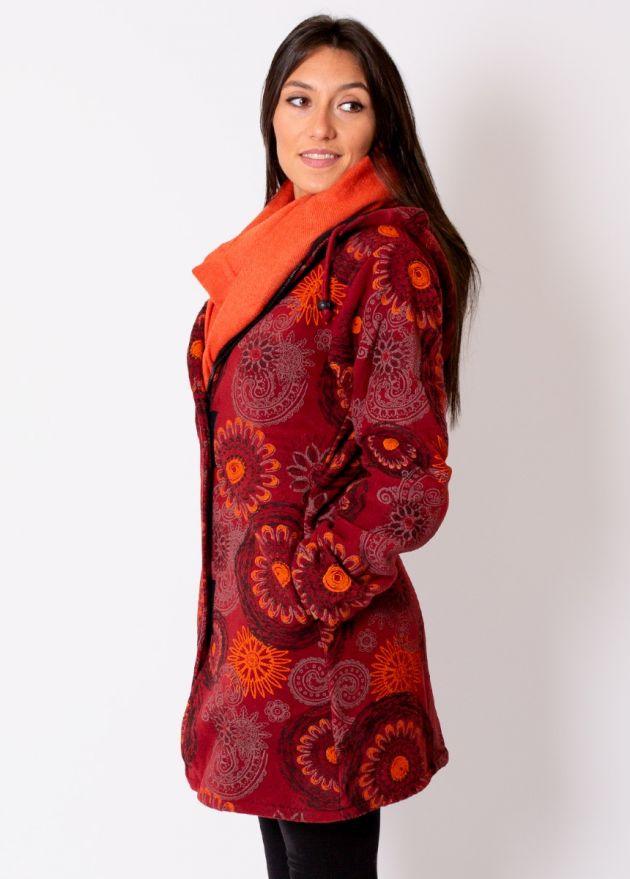 manteau femme motif ethnique bordeaux