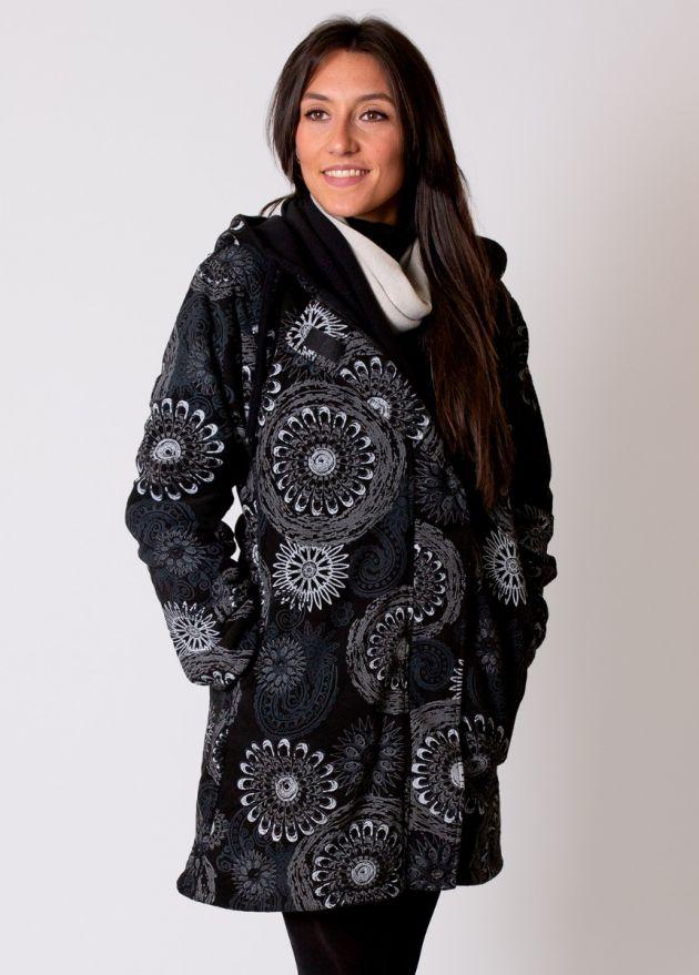manteau femme à capuche double polaire noir gris