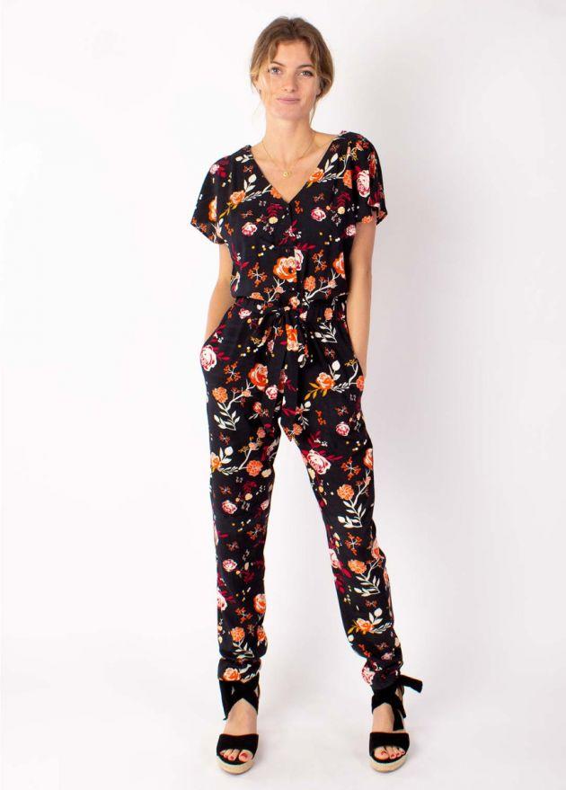 combi-pantalon motif floral en viscose face