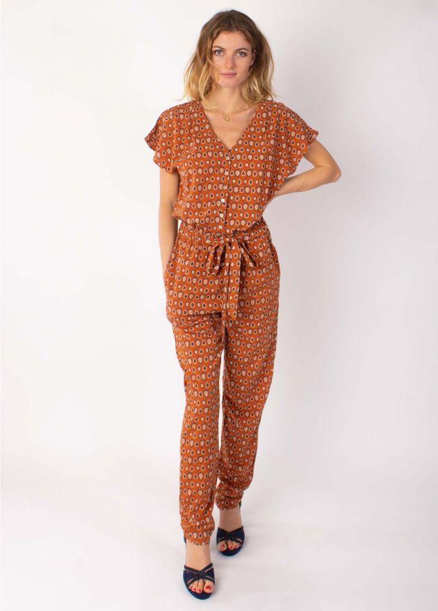 combi-pantalon manches courtes imprimé ethnique camel face