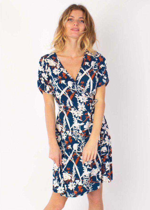 robe cache-cœur manches courtes motifs floraux zoom