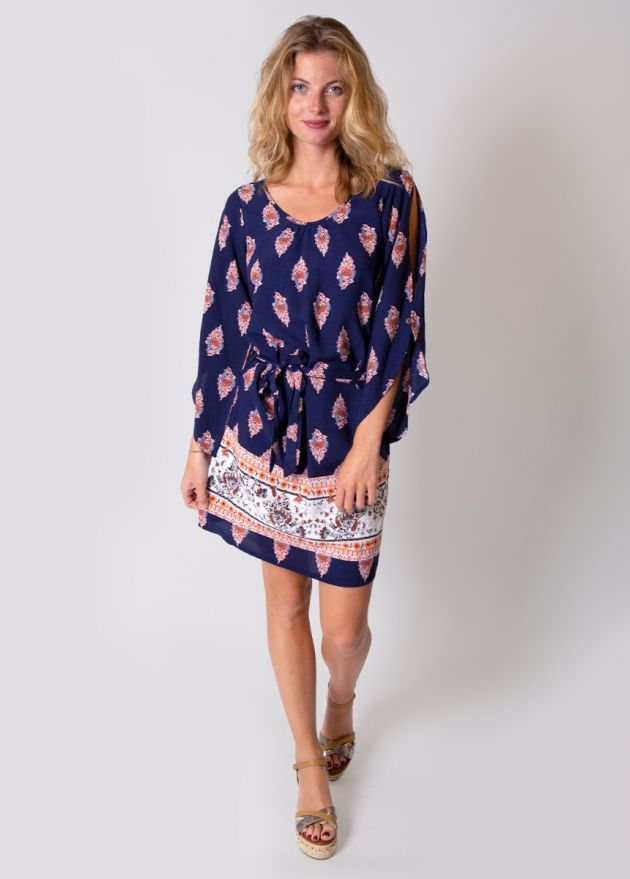 robe-viscose-imprimé-marine-corail