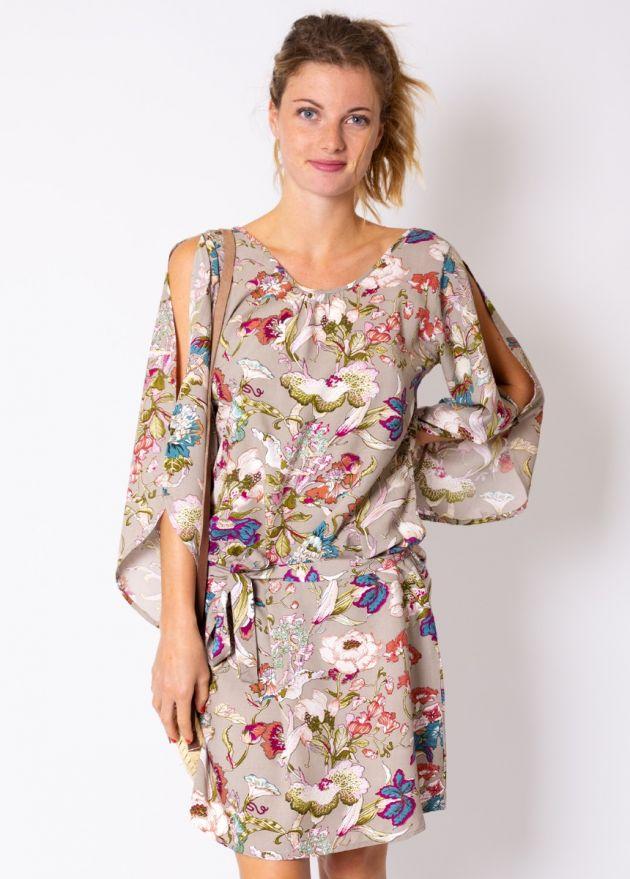 robe-viscose-romantique-fleurie-gris
