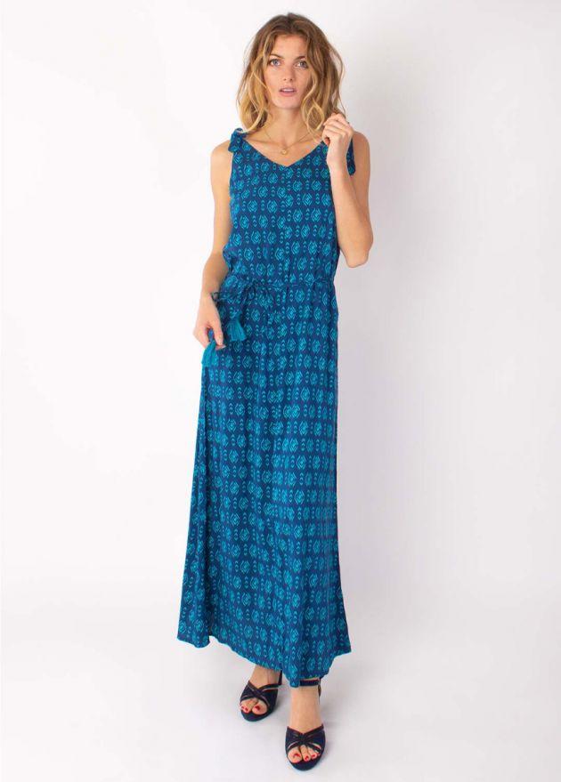 robe longue ludmilla viscose bleu face