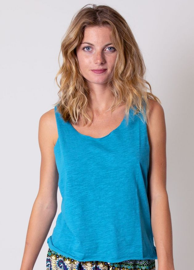 top turquoise en coton
