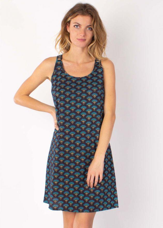 robe coton imprimé bleu zoom