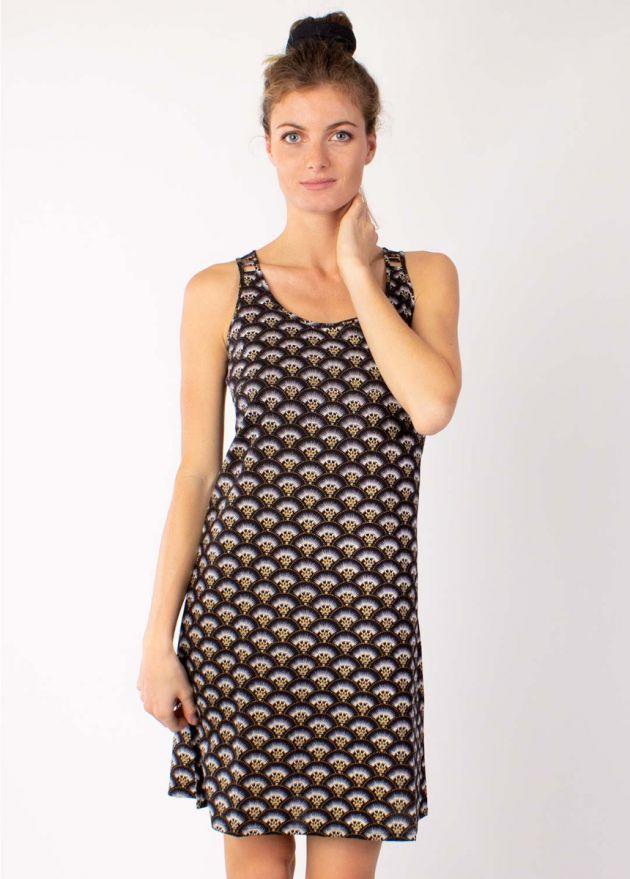 robe coton motif ethnique noir zoom