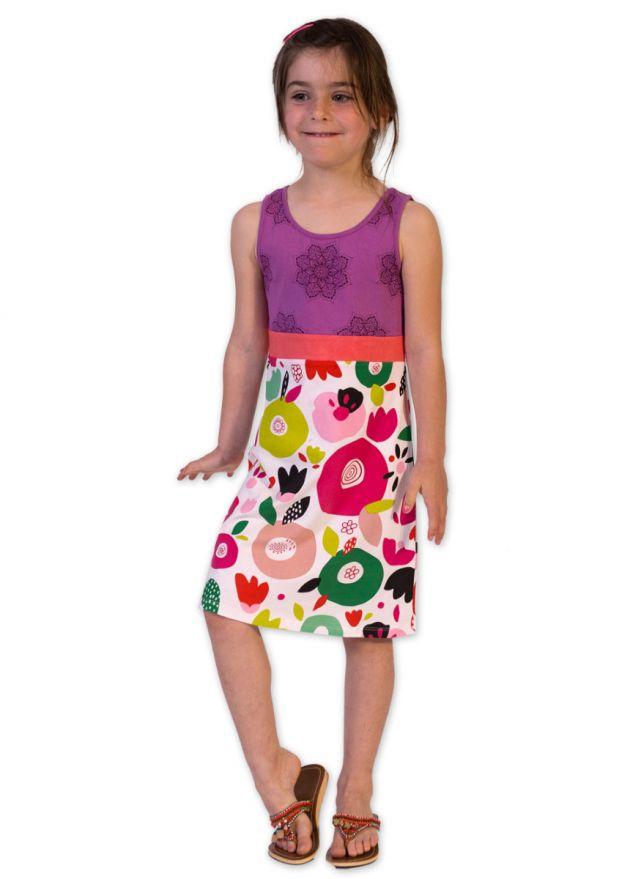 robe courte enfant violet
