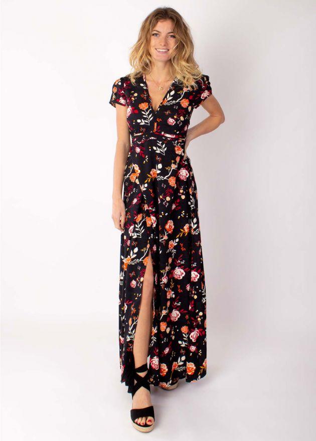 robe longue manches courtes motif floral