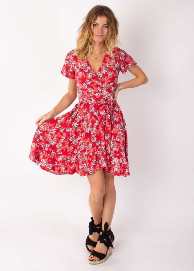 robe courte cache cœur marika 8 rouge volantee