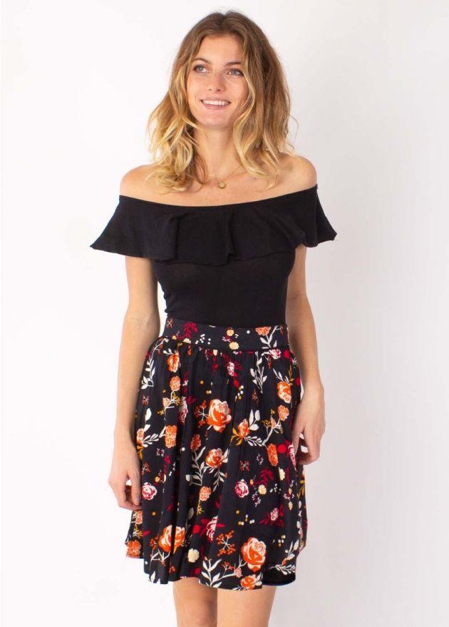jupe courte légère à fleurs face