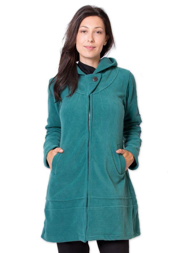 veste polaire longue vert