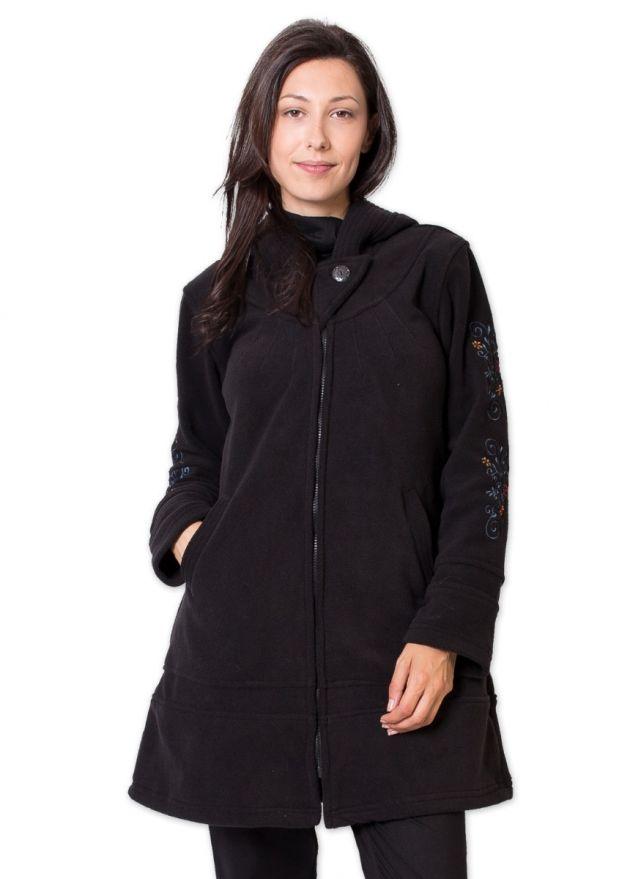 veste polaire longue femme noir
