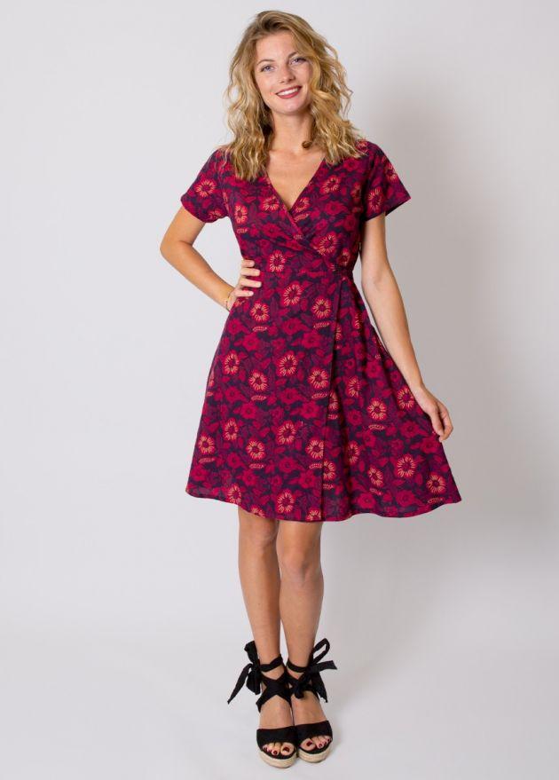 robe-coton-fleurie-rose