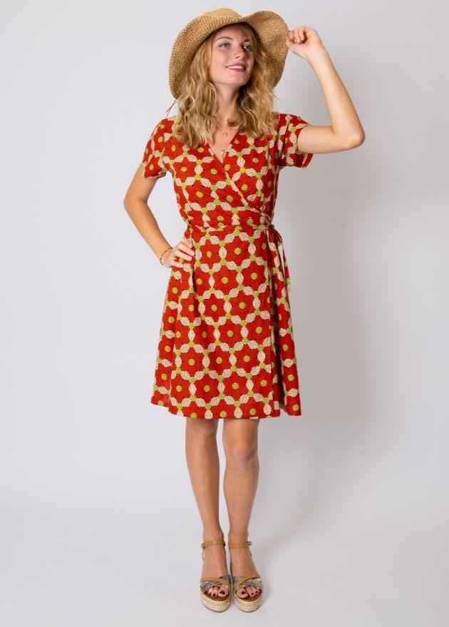 robe-coton-fleurie-orange