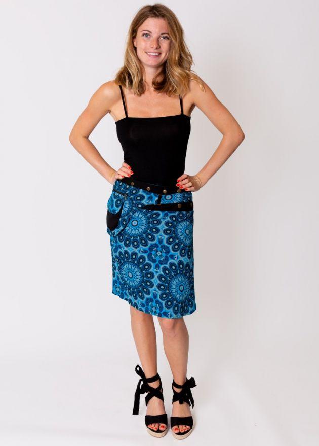 jupe portefeuille coton imprimée bleu