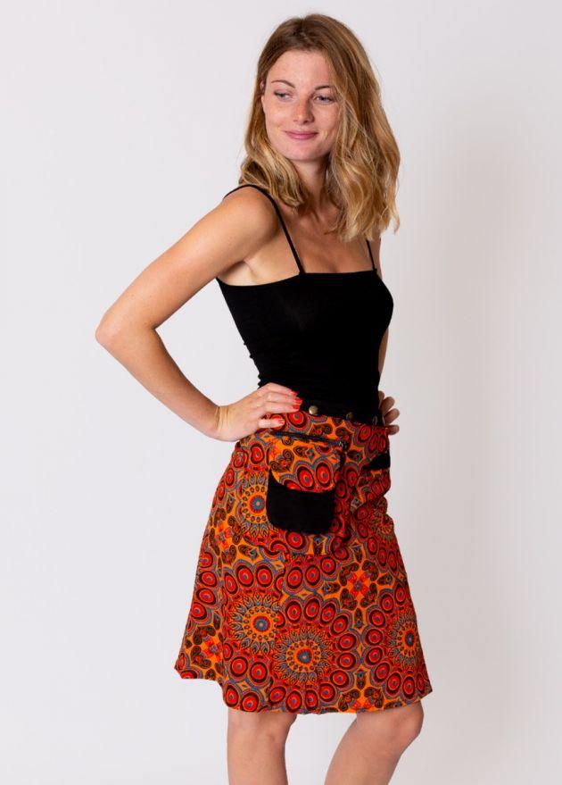 jupe portefeuille imprimé orange
