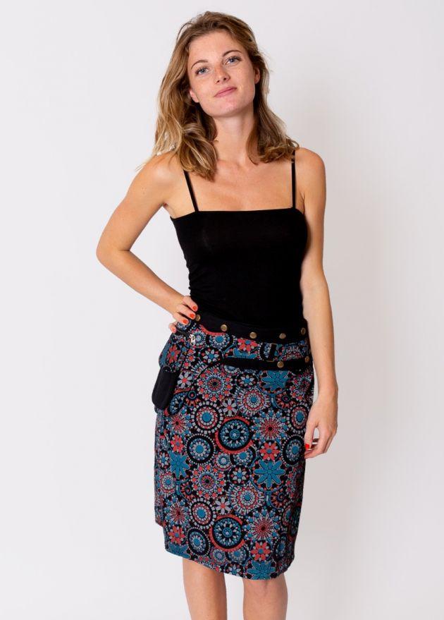 jupe portefeuille coton imprimé ethnique face