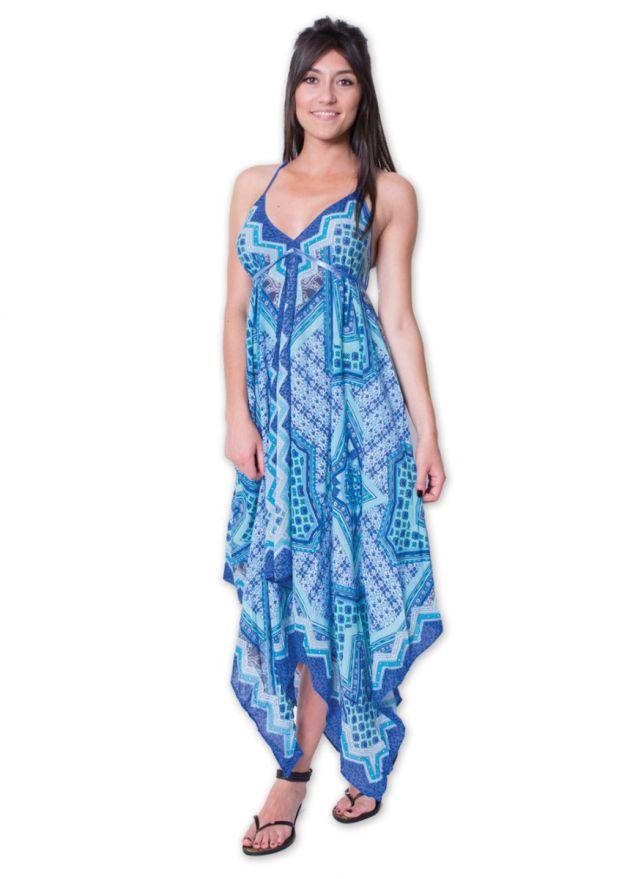 robe plage viscose fines bretelles bleu face