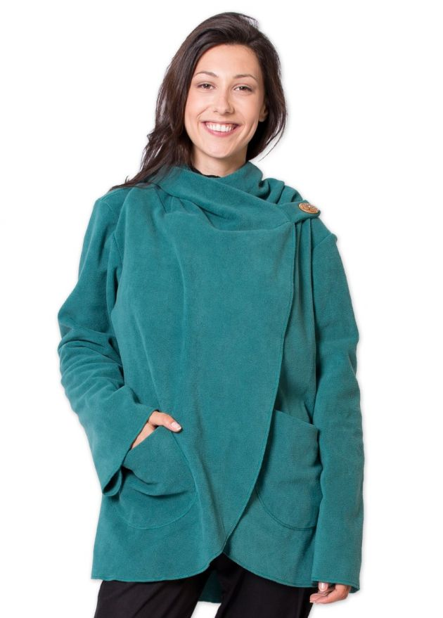veste matiere polaire courte ottawa vert/bleu