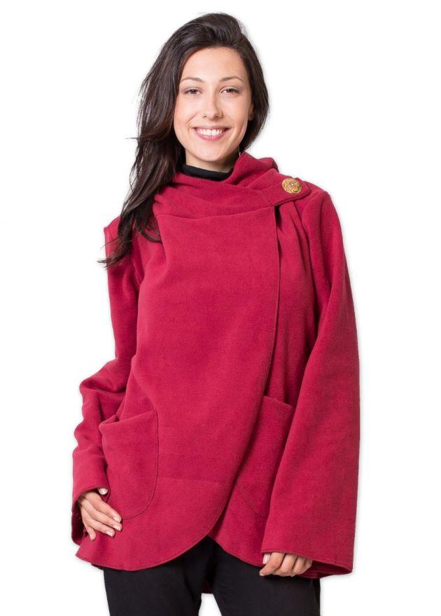 veste matiere polaire courte rouge à capuche