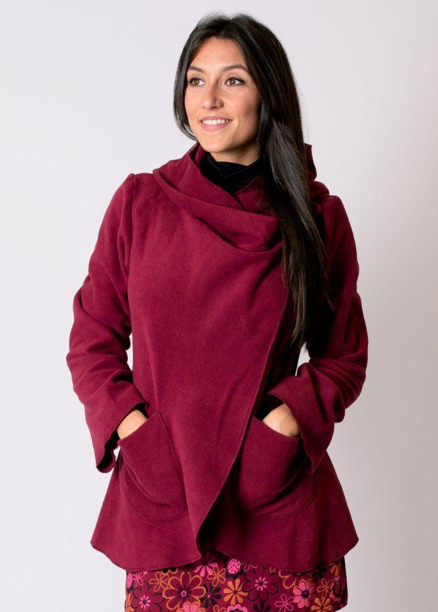 veste polaire courte ottawa prune à capuche