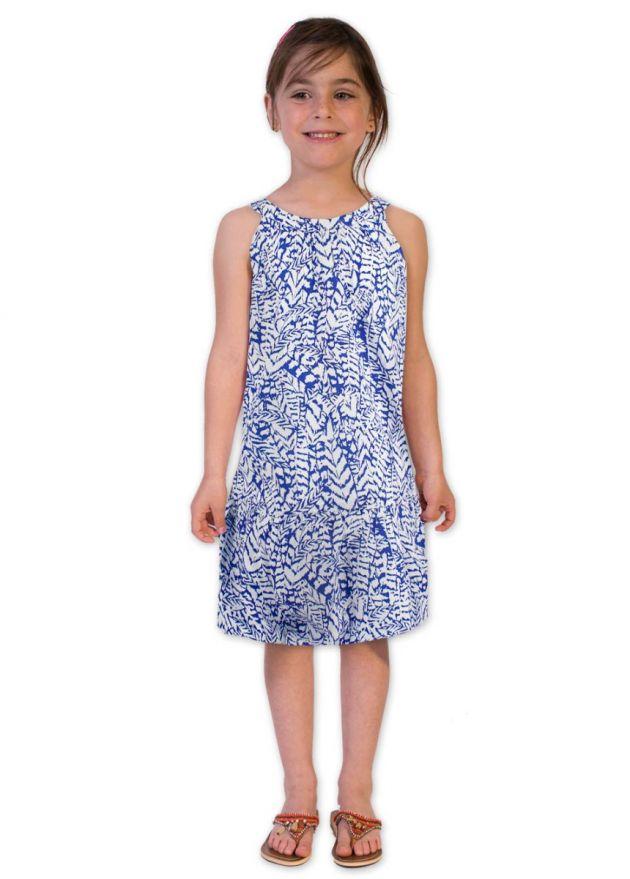 robe enfant bleu et blanc motifs ethniques