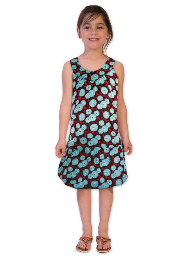 robe enfant coloré bleu aux motifs ethniques