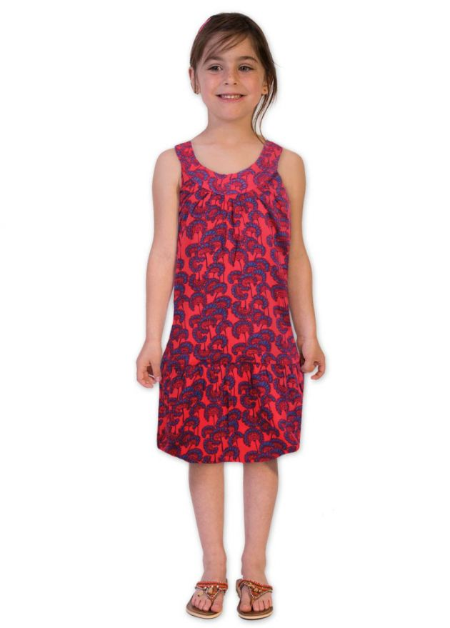 robe enfant rouge motifs ethniques