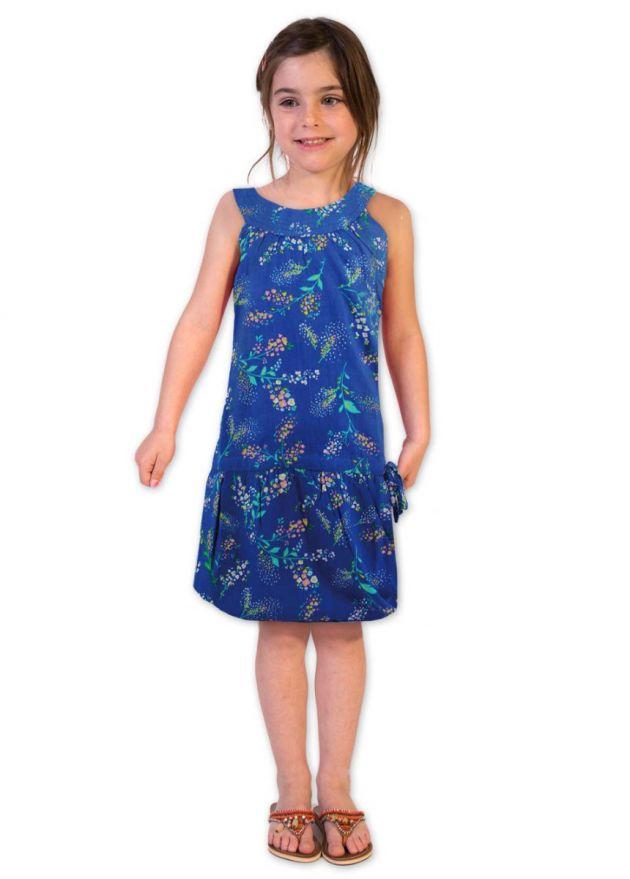 robe enfant bleu motifs fleuris