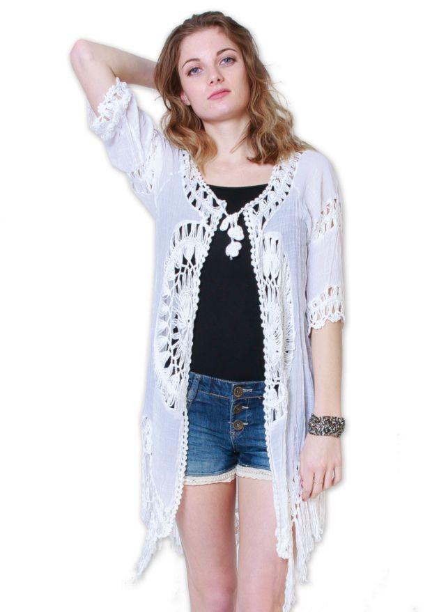 veste femme plage blanche mi-longue à franges face