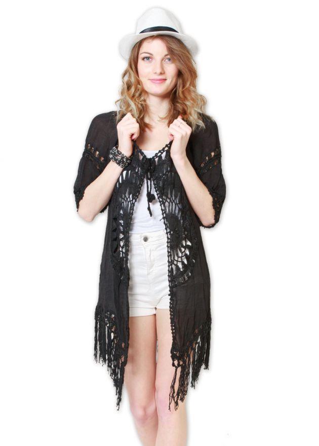 veste femme plage noire à franges à nouer