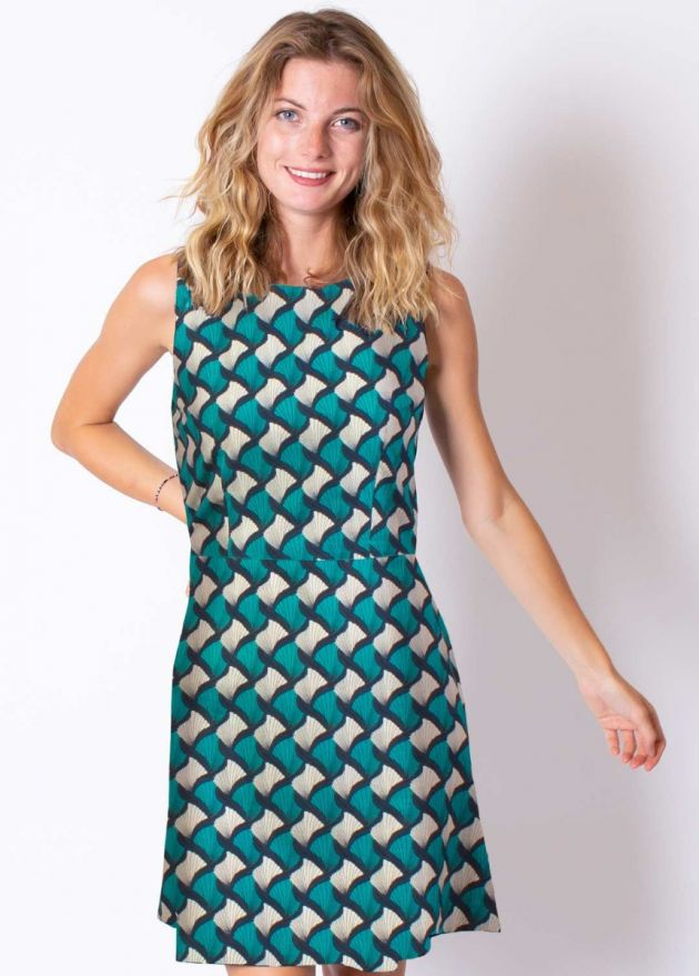 robe coton imprimé africain turquoise et marine zoom