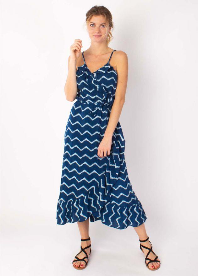robe longue ceinturée à fines bretelles tie and dye bleu marine