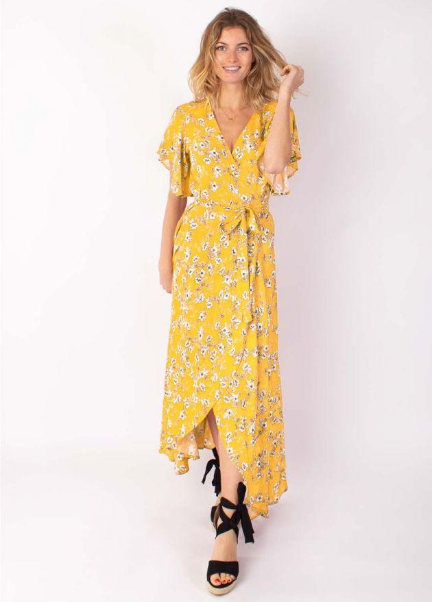 robe longue viscose manches courtes face