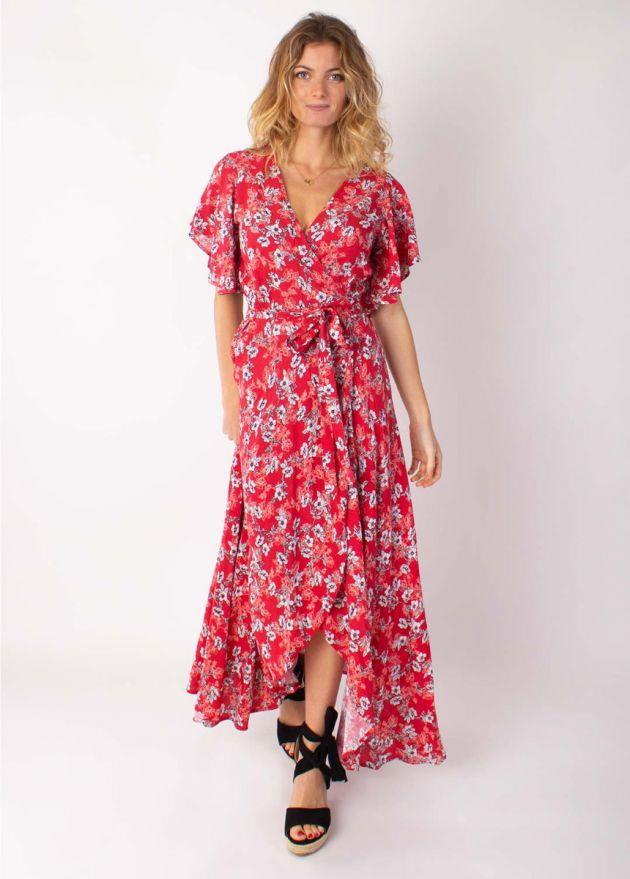 robe longue cache cœur sakura imprimé 8 rouge face