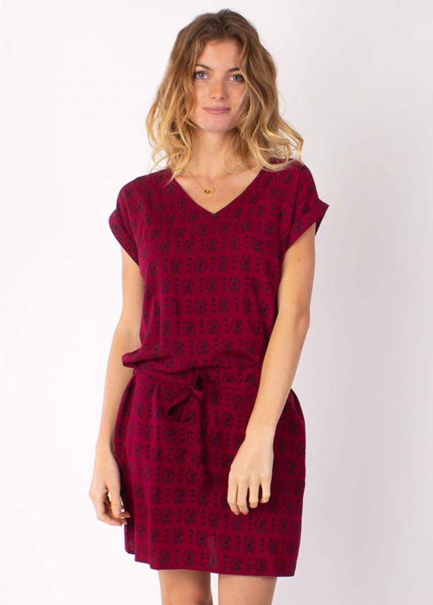 robe courte motif ethnique prune ceinture amovible zoom