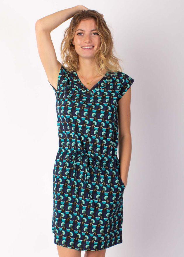 robe courte petites manches motif ethnique