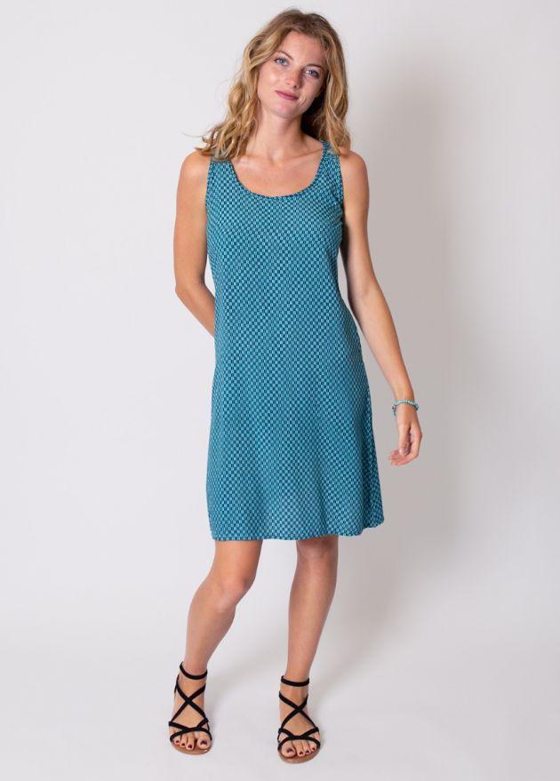 robe-courte-viscose-turquoise